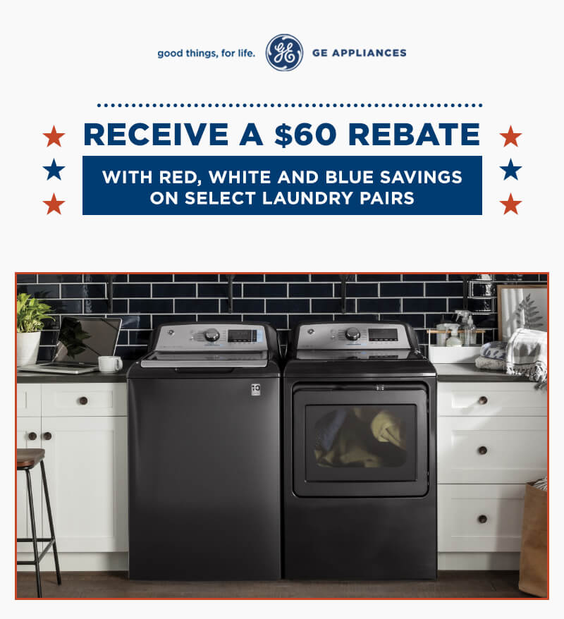 GE Appliance Red, White and Blue Laundry Savings